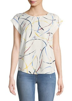 Joie Rancher Cap-Sleeve Printed Top