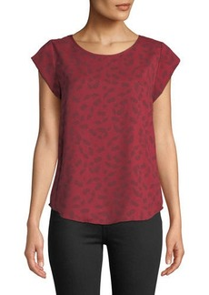 Joie Rancher Short-Sleeve Printed Crepe Blouse