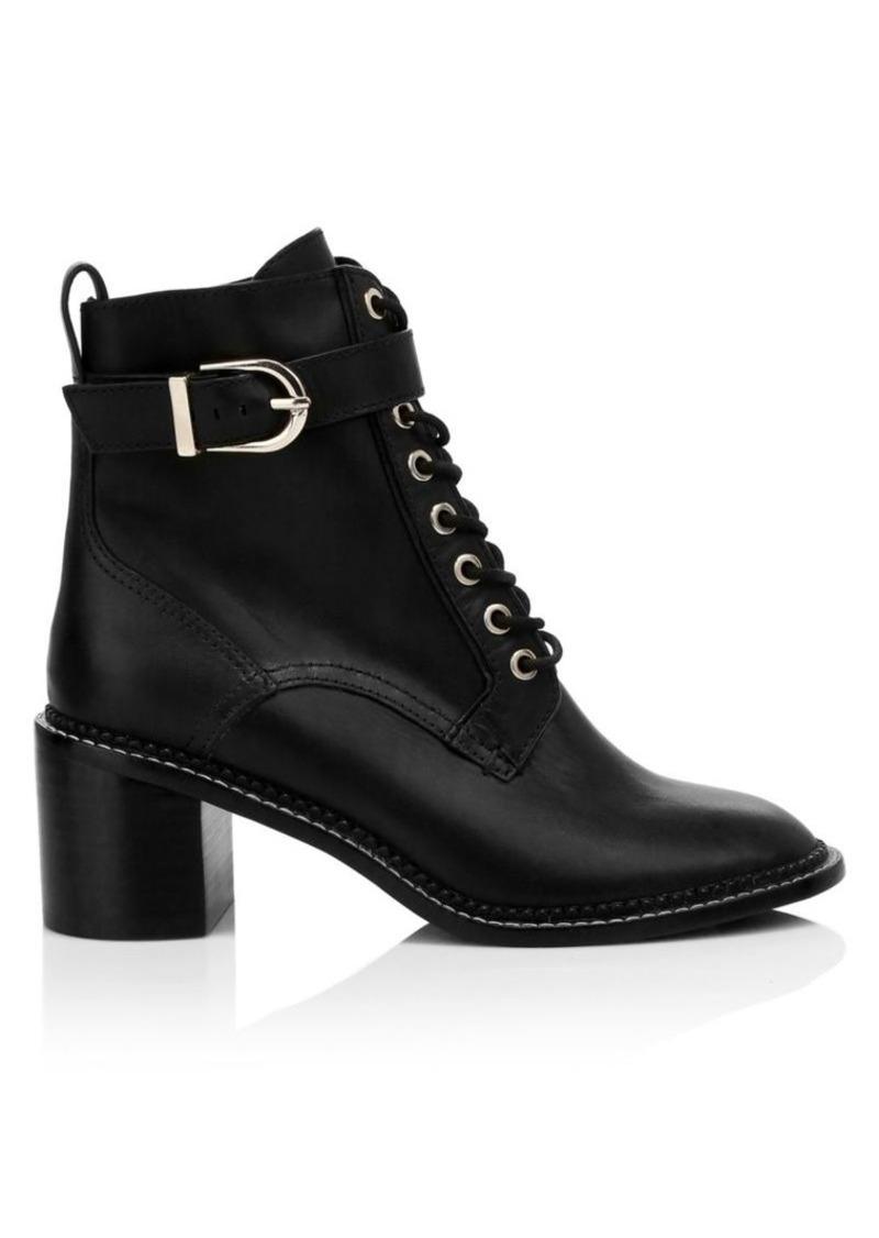 Joie Raster Leather Block Heel Combat Boots