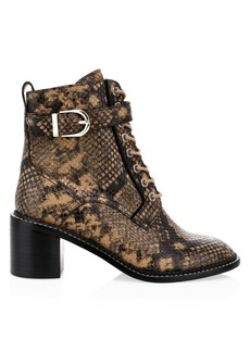 Joie Raster Python-Embossed Leather Combat Boots