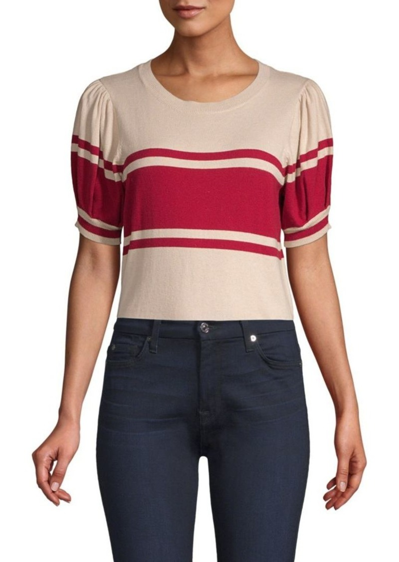 Joie Rolana Knit Puff-Sleeve Knit Top