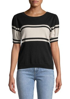 Joie Rolana Striped Short-Sleeve Sweater