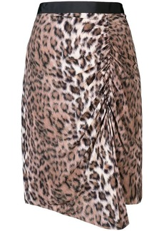 Joie ruched leopard print skirt