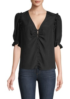 Joie Ruffled-Trimmed Button-Front Top