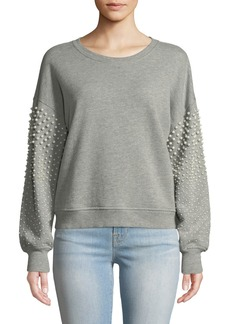 Joie Sanceska Pearly-Stud Cotton Sweatshirt