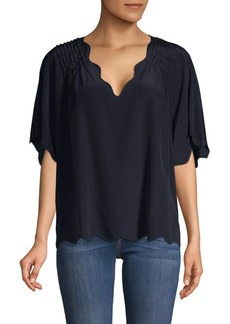 Joie Scalloped V-neck Silk Top