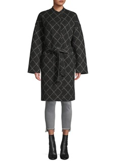 Joie Shaurya Windowpane Check Wrap Coat