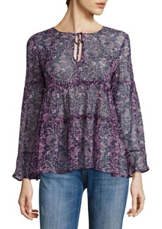 Joie Shawni Floral Silk Long-Sleeve Blouse