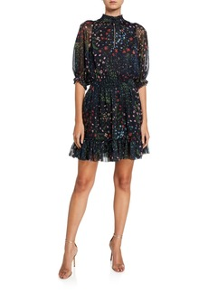 Joie Shima Floral High-Neck Smocked Dress