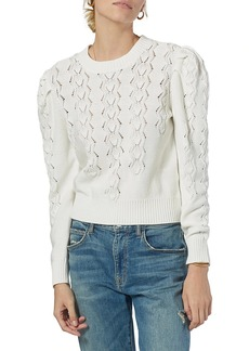 Joie Sigourney Pointelle Puff-Sleeve Knit Sweater