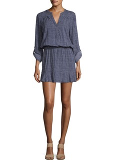 Soft Joie Acey Button-Front Long-Sleeve Printed Dress