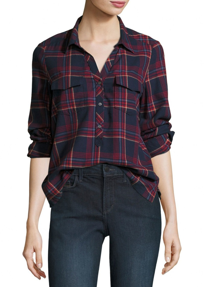 Joie soft joie antolina plaid button front shirt now for Soft joie plaid shirt