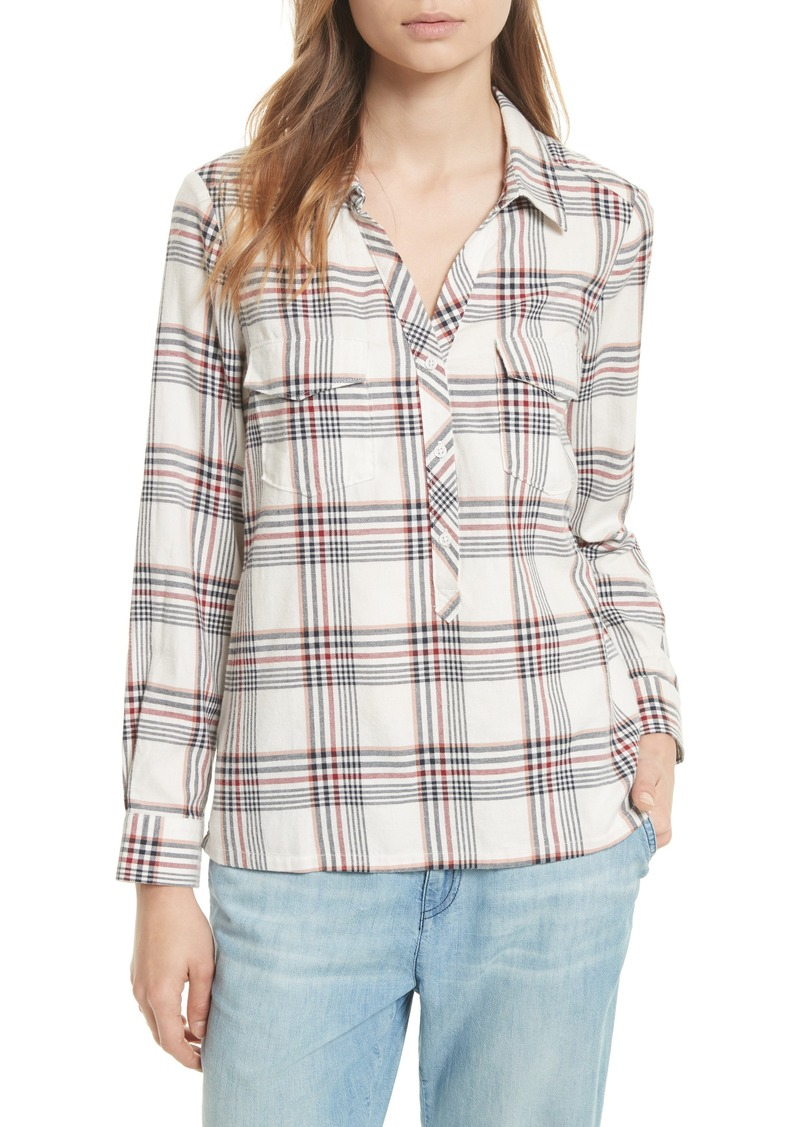 Joie soft joie antolina plaid cotton top casual shirts for Soft joie plaid shirt