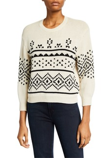 Joie Talena Crewneck 3/4-Sleeve Sweater
