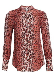 Joie Tariana Leopard Button-Down Blouse