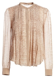 Joie Tassa Pleated Snake Print Silk Blouse