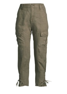 Joie Telutci Lace-Up Linen Cargo Pants