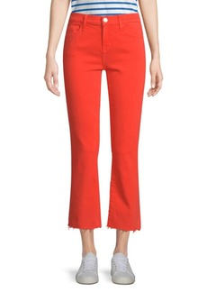 Current/Elliott The Kick Raw-Hem Cropped Jeans