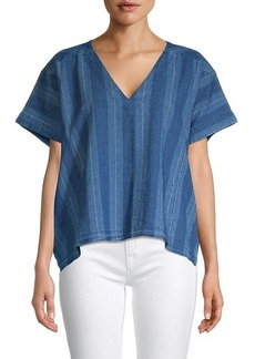 Joie Theola Stripe Linen & Cotton Chambray Top