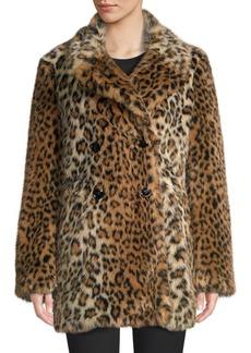 Joie Tiaret Leopard Faux Fur Coat