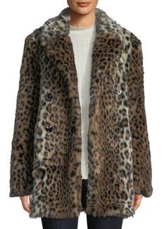 Joie Tiaret Leopard-Print Faux-Fur Snap-Front Coat