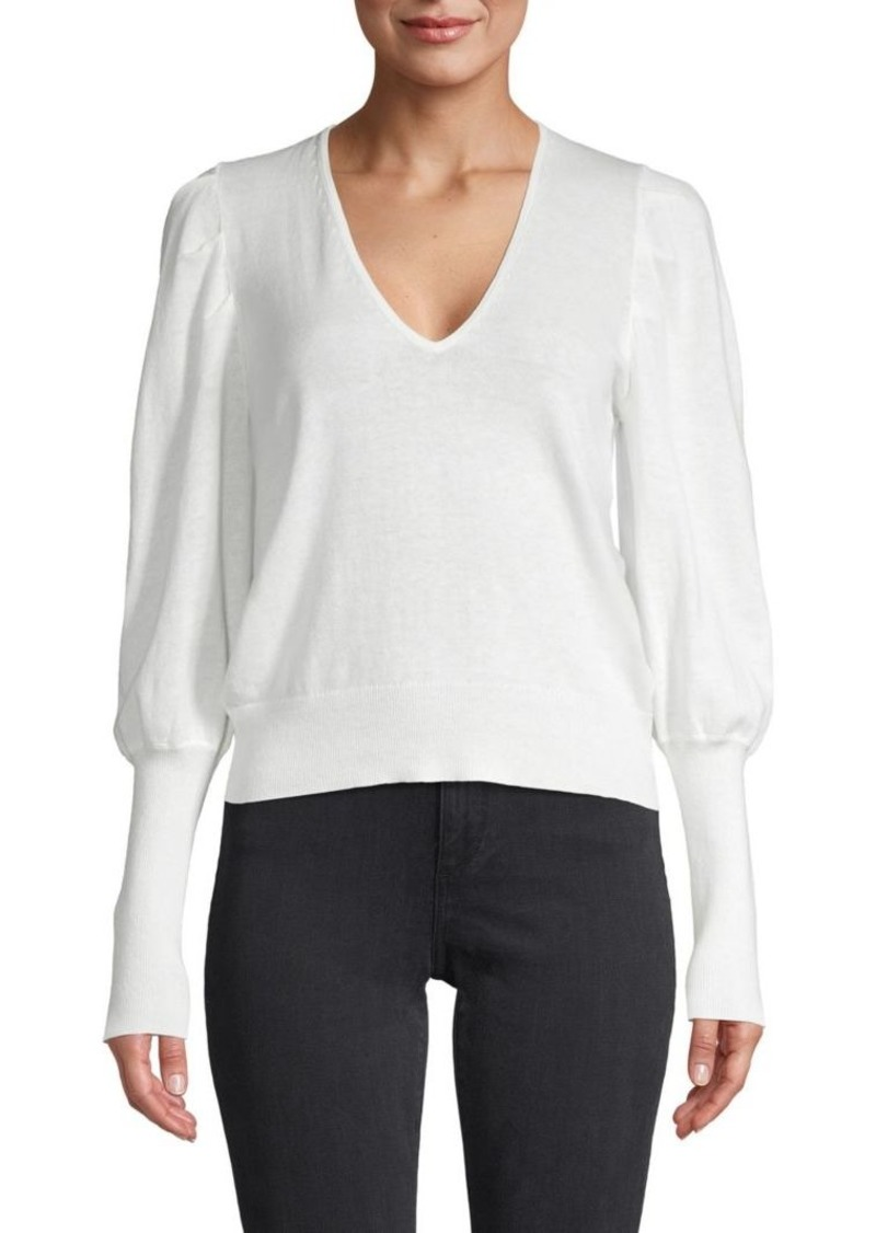 Joie Ula Puff-Sleeve Cotton & Linen Sweater