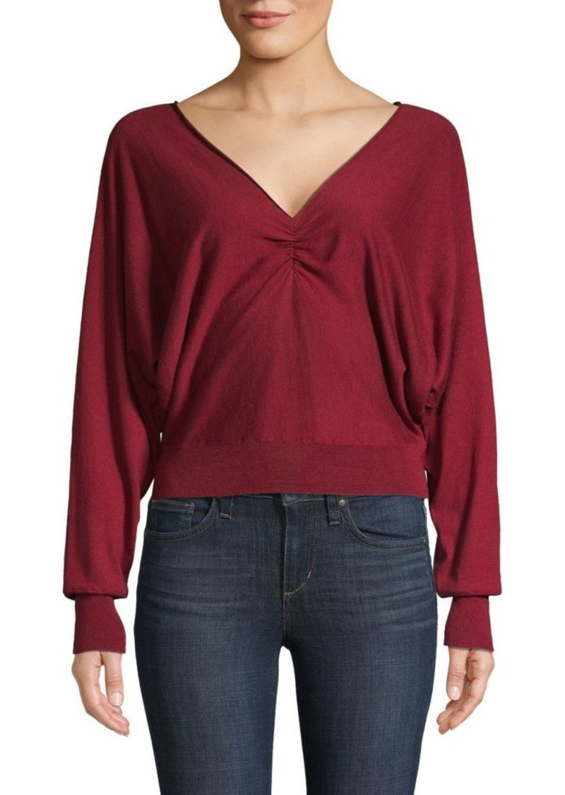Joie V-Neck Cotton & Cashmere-Blend Sweater