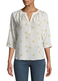 Joie Vintage Fan V-Neck Blouse