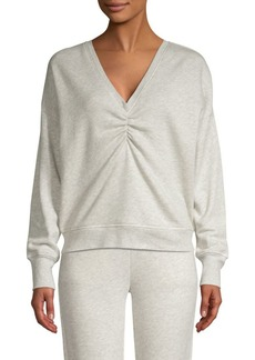 Joie Warda Cotton Ruched Knit Sweatshirt