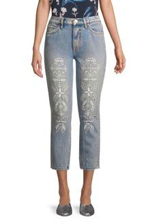 Joie Weslyn Eyelet Cropped Jeans