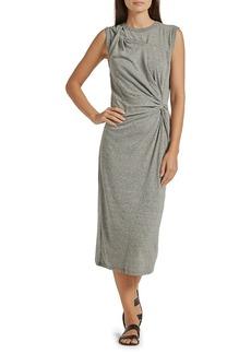 Joie Woodridge Twisted Detail Heathered Midi Dress
