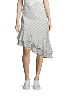 Joie Yenene Striped Asymmetric-Hem Skirt