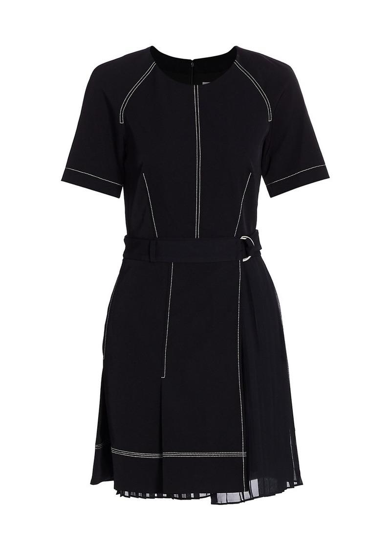 Arya Short-Sleeve Pleated Dress