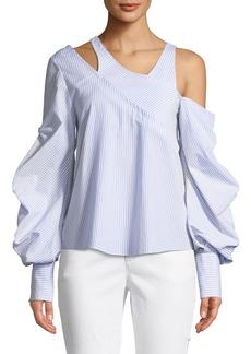 Jonathan Simkhai Asymmetric Poplin Blouson-Sleeve Top