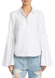 Jonathan Simkhai Bell-Sleeve Cotton Blouse