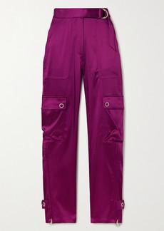 Jonathan Simkhai Belted Satin Slim-leg Pants