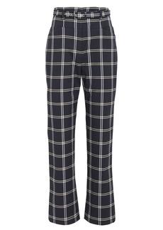 Jonathan Simkhai Belted Windowpane Twill Trousers