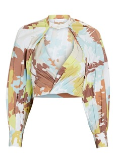 Jonathan Simkhai Capri Pleated Floral Crop Top