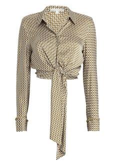 Jonathan Simkhai Chain Print Crepe Tie Blouse