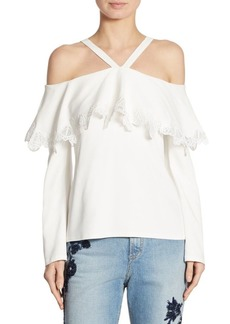 Jonathan Simkhai Cold-Shoulder Lace-Trim Crepe Top