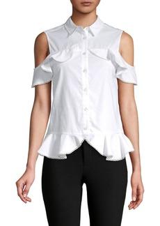 Jonathan Simkhai Cold-Shoulder Ruffled Cotton Top