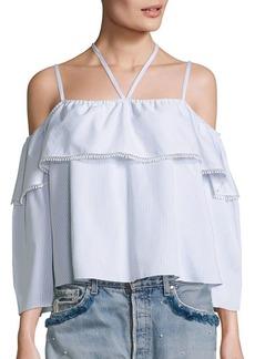 Jonathan Simkhai Cold-Shoulder Striped Cotton Top