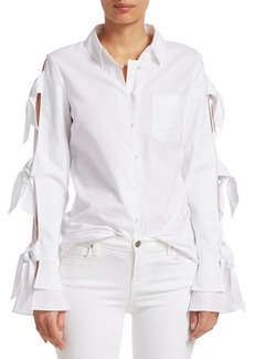 Jonathan Simkhai Cotton & Linen Tie Sleeve Oxford Blouse