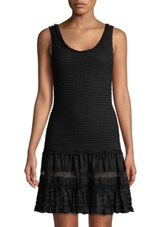 Jonathan Simkhai Coverup Mesh-Stripe Tiered Dress