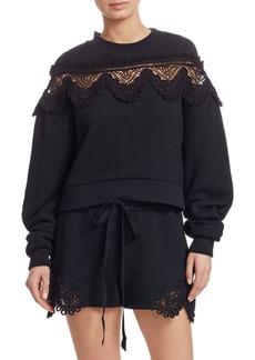 Jonathan Simkhai Crochet-Accented Cotton Sweatshirt