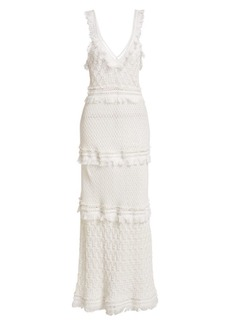 Jonathan Simkhai Crochet Combo V-Neck Maxi Dress