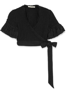 Jonathan Simkhai Cropped Lace-trimmed Ruffled Stretch-knit Wrap Top