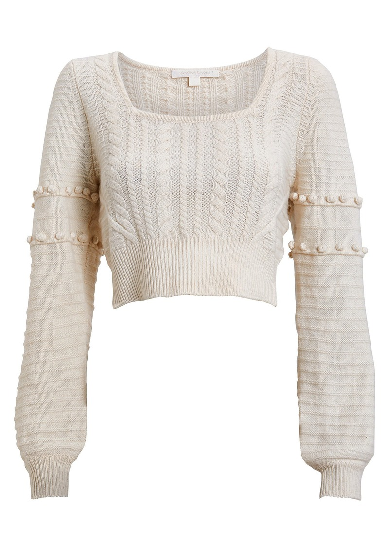 Jonathan Simkhai Cropped Wool Cable Knit Sweater