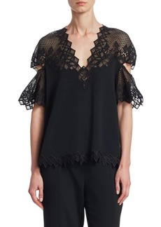 Jonathan Simkhai Diamond Lace Appliqué Flutter-Sleeve Top