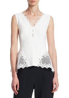 Jonathan Simkhai Diamond Lace Appliqué Peplum Top